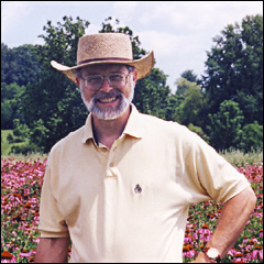 Jeff McCormack in field of Echinacea